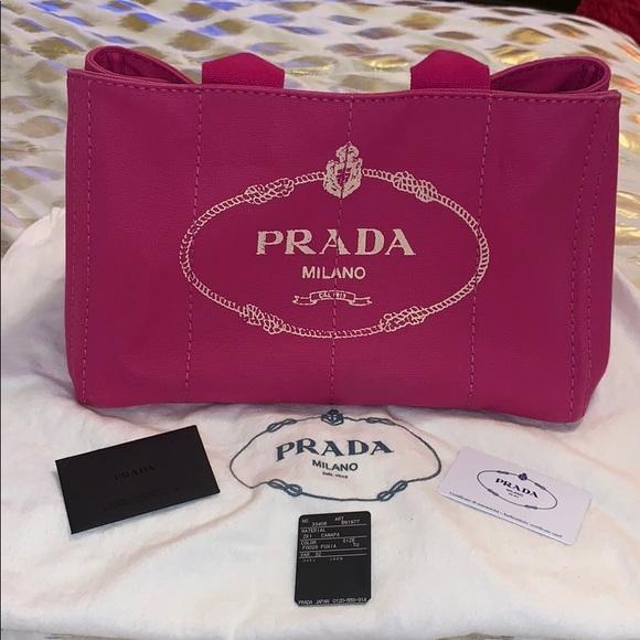 070f38c8bf06 Prada Bags   Canapa Shopping Pink Canvas Tote   Poshmark
